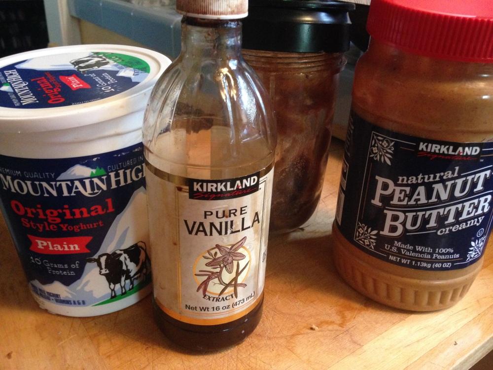 Yogurt, Date Paste, Vanilla Extract, and Peanut Butter